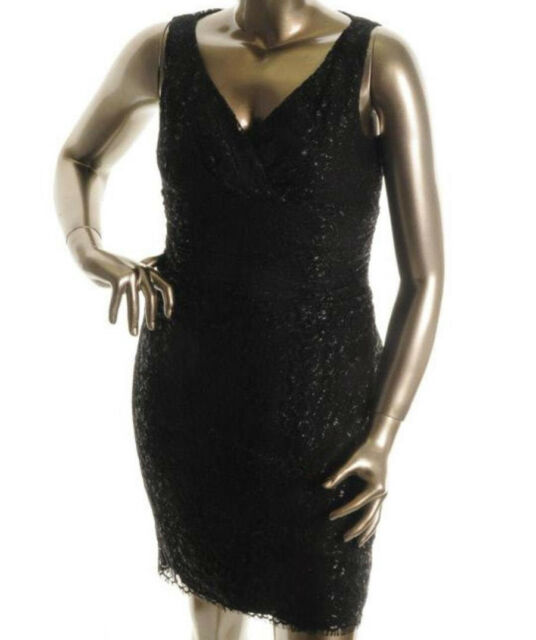 NEW Womens Lauren Ralph Lauren Haddon Hall Black Party Cocktail Dress AU10
