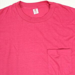 Vtg-70s-80s-NOS-HANES-Blank-Pocket-Work-T-Shirt-USA-Single-Stitch-Rare-Pink-NWOT