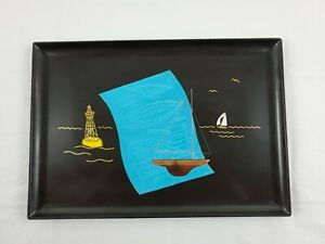 Vintage-Couroc-Monterey-Sail-Boat-Ship-Yacht-Blueprints-Brass-amp-Wood-Inlay-Tray
