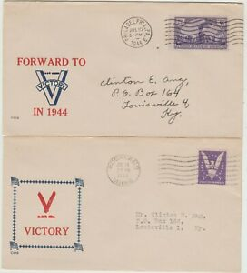 USA 1944 2 Homestead cachet Patriotic Covers Victory Theme