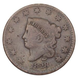 1828-Coronet-Head-Large-Cent-1C-Penny-Very-Good-VG-Condition