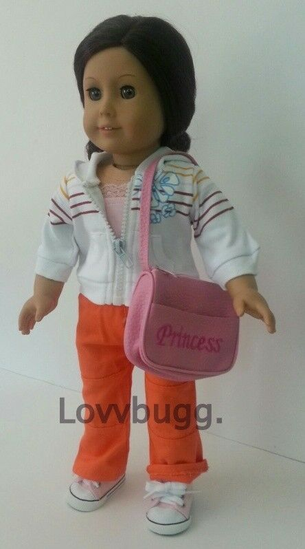 "Lovvbugg Complete Set Orange Pants Hoodie Purse Shoes for 18"" American Girl Doll Clothes"