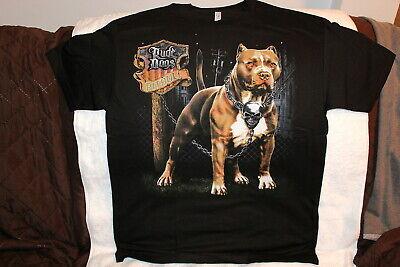 RUDE DOGS PITBULL SKULL CHAIN BLACK T-SHIRT PRINT IS ON THE BACK