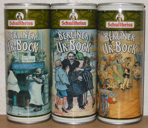 SCHULTHEISS BERLINER UR-BOCK 3 Steel cans set from GERMANY (50cl) 01  Empty !!