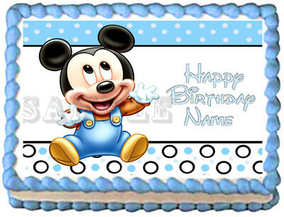 Peachy Baby Mickey Mouse Party Edible Cake Topper Image Ebay Personalised Birthday Cards Sponlily Jamesorg