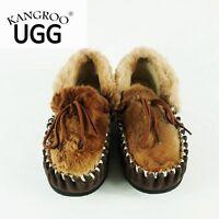 Winter Kangaroo Skin Genuine Australian Sheepskin Lambskin Moccasins Slippers