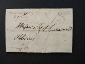 New York: Boonville 1830 Stampless Cover, Red/Brown Ms, 12-1/2c Rate to Albany