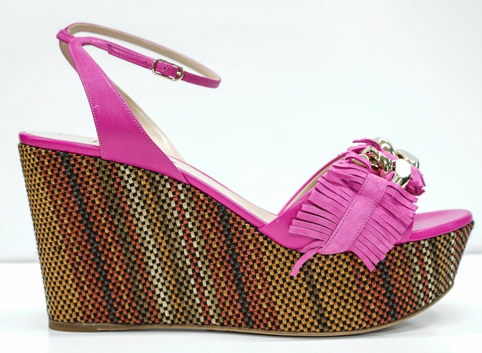 New in Box Casadei Ladies Pink and gold Wedge 1L479G