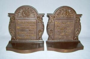 Bradley & Hubbard ~ Vintage Cast Iron BOOKENDS (S.Johnson & F.Bacon) Quotes 1925