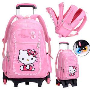 Girl Rolling Backpack With Flashy Wheels Travel Luggage Wheeled School Bag Cute