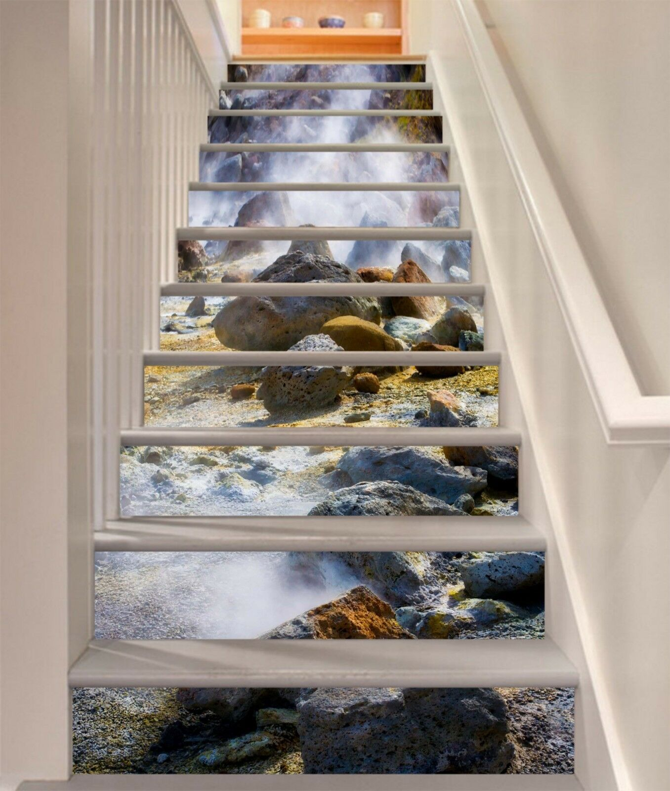 3D Stone River 12 Stair Risers Decoration Photo Mural Vinyl Decal Wallpaper CA