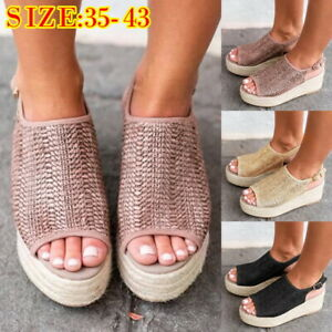New-Womens-Summer-Platform-Sandals-Wedges-Shoes-Heels-Shoes-Clog-Espadrilles-HJ