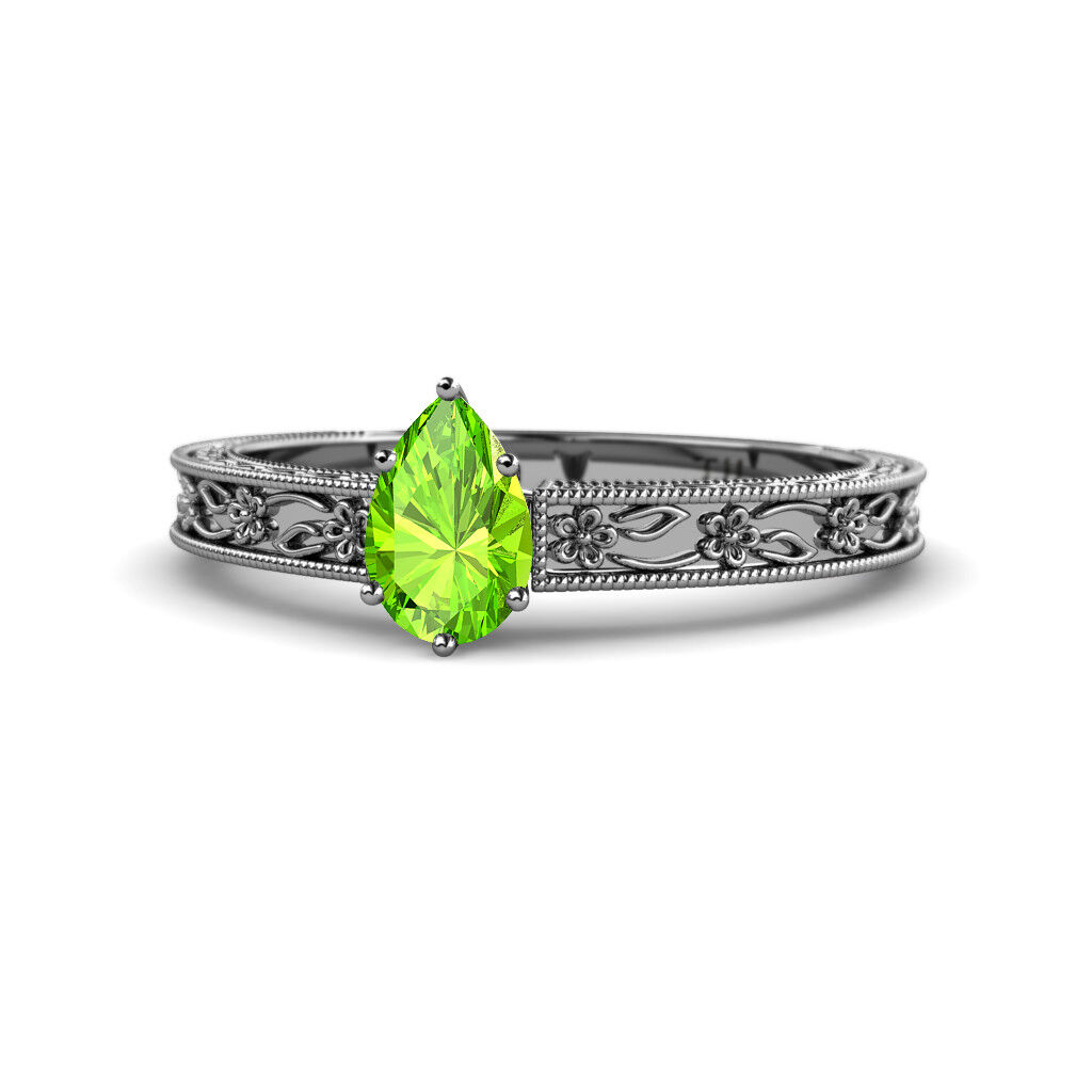Pear Cut Peridot Womens Solitaire Engagement Ring 0.75 ct 14K gold JP 135167