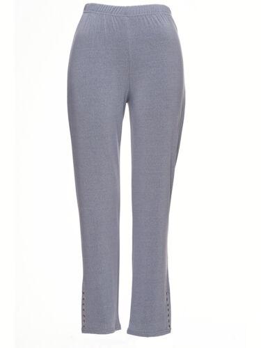 Damen Leggings Leggins Treggings Jeggings Stretch Hose Nietenbesatz pastell grau