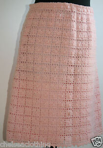 1960-True-Vintage-CROCHET-Skirt-Hand-Knitted-100-Wool-UK10-W28-034-L20-034-Pink-Peach