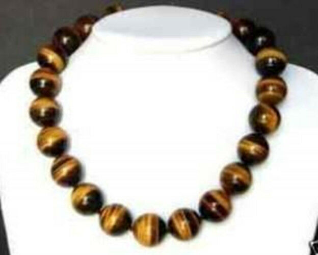 Rare 12MM tiger's-eye Round beads necklace 18""