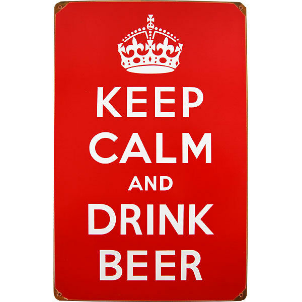 Keep Calm and Drink Beer Red Metal Sign - Funny Home Bar Pub Decor Wall Display
