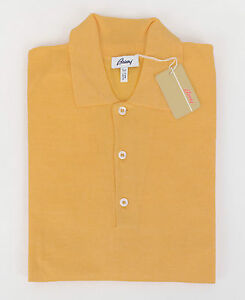 New brioni amber yellow linen silk blend polo sweater size 54 44 xl