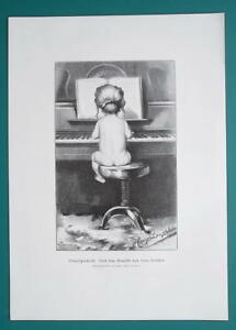 CUTE-BABY-Naked-Playing-Piano-Future-Virtuoso-VICTORIAN-Era-Print