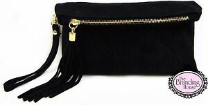 ladies-black-suede-tassel-evening-clutch-bag-with-wrist-amp-shoulder-strap