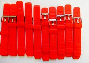 Lot-50-Bracelets-Montre-Watch-Bands-PVC-Orange-12-mm-Boucle-Acier-Neuf