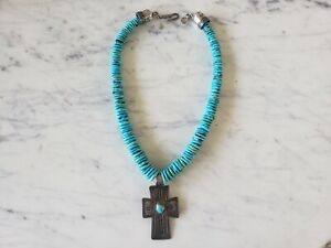 Vintage-Don-Lucas-Turquoise-Necklace-Sterling-Cross-Wavy-Disc-Stones-19-034-Signed
