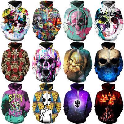 Womens//Mens Blue Flame Skeleton Skull 3D Print Casual Hoodie Sweatshirt Pullover