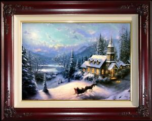 Thomas-Kinkade-DBL-SIGNED-Sunday-Evening-Sleigh-Ride-18x27-S-N-Limited-Canvas