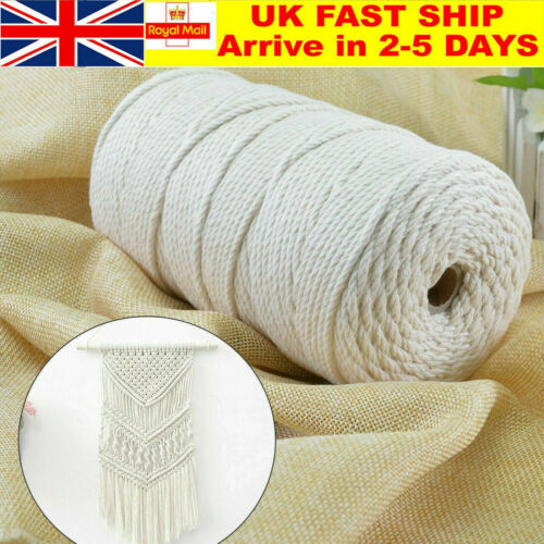 3mm 200M Beige Cotton Twisted Cord Rope Craft Macrame Artisan String Natural RD