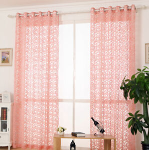 Details About Gray Jacquard Sheer Curtains Modern Living Room Pink Window D 84 96 Tulle