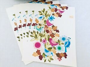 70-039-s-Vintage-7-Unfolded-Blank-Note-Cards-Birds-amp-Flowers-Stationary-Postcards