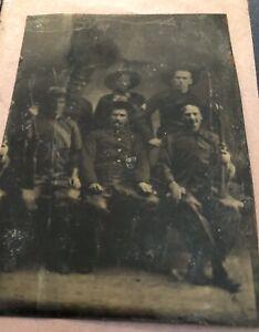 Tintype Photo Civil War,Indian War Era,Six Soldiers & Cowboys,Carbin