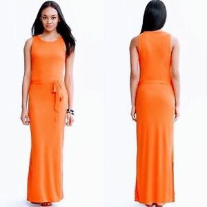 368696414b2 BANANA REPUBLIC MAXI DRESS XS  130 Sleeveless Long Orange Minimalist ...