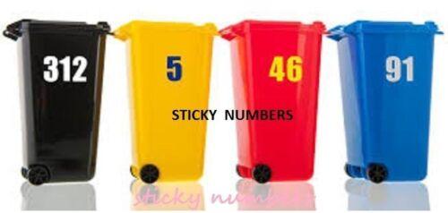 """Wheelie Bin House Numbers /& Letters black Self Adhesive Wheely bins Stickers 6/"""""""