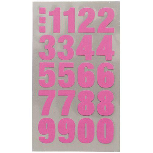 20mm Hoch Fluoreszierend Neon Pink Klebend Zahlen Etiketten Aufkleber RCN7961