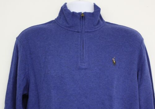 fermeture à XL bleu pull brun de logo Polo coton Lauren tricot en M glissière Ralph Pony n8anxqCwS