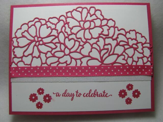 PACK 2 PINK MAGNOLIA BIRTHDAY EMBELLISHMENT TOPPERS FOR CARDS AND CRAFTS