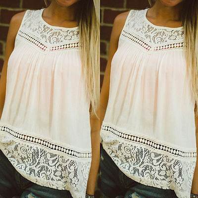 Women Lady Summer Vest Top Sleeveless Chiffon Blouse Casual Tank Tops T-Shirt AY