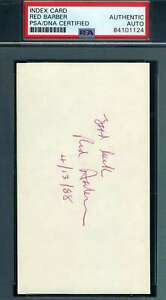 Red-Barber-PSA-DNA-Coa-Autograph-Hand-Signed-3x5-Index-Card