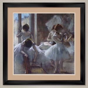 "35W""x35H"": DANCERS 1885 by EDGAR DEGAS - BALLERINAS DOUBLE MATTE, GLASS & FRAME"