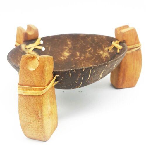 Soap Dish Vintage Coconut Shell Teak Wood Bathroom Dispenser Shower Handmade