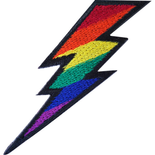 Rainbow Lightning Iron On Patch Sew On Embroidered Badge Lesbian LGBT Gay Pride