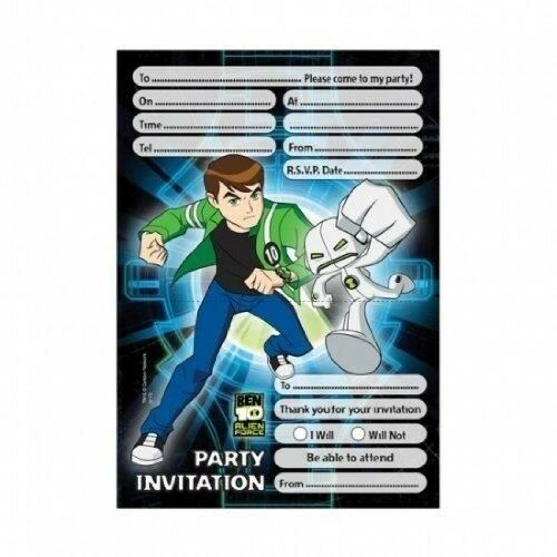 Pack Of 20 Ben 10 Alien Force Invitations