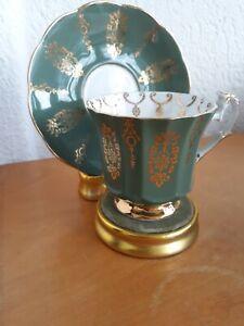Lovely Green & GoldBone China Tea Cup & Saucer Elizabethan Taylor & Kent