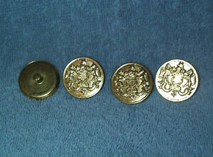 Details about Set of 4 Brass Metal Coat of Arms Buttons, LIONS Shield HONOR  1 1/8