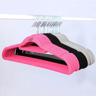 Non-Slip Slim Clothes Hangers Velvet Flocking Closet Coat Thin Organizer 10P-20P