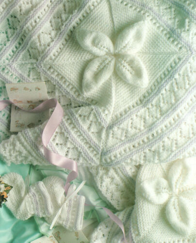 Embossed Leaf Baby Blanket DK~ Mitts /& Bootees 4 Ply  Knitting Pattern