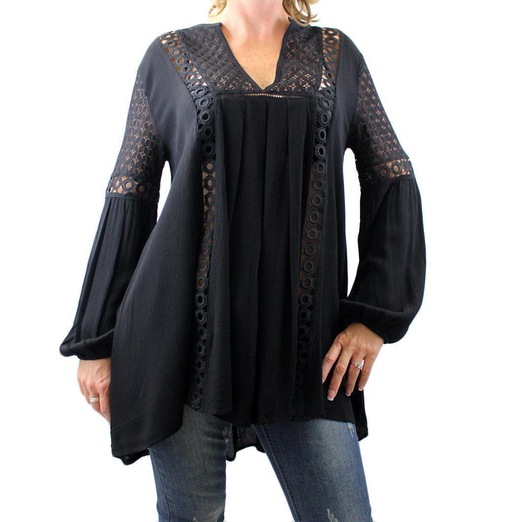 Woherren schwarz Long Sleeved Bohemian Boho Blouse Top with Embroiderot Lace Detail