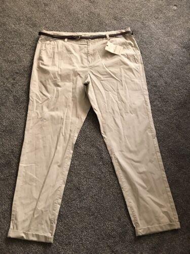 M/&S 100/% COTONE neutro Chinos Pantaloni Taglia 18 Lungo Nuovo con etichetta spedizione nello stesso giorno gratuiti