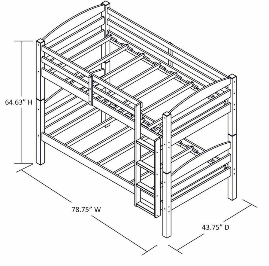 Bunk Beds Twin Over Twin For Kids Girls Boys Convertible